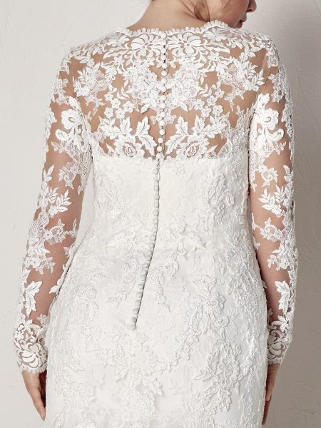 Long Sleeve Scalloped V-neck Lace Fit And Flare Wedding Dress by Pronovias - Image 2