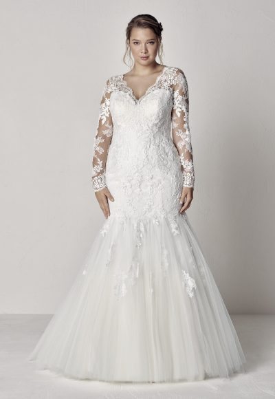 Long Sleeve Scalloped V-neck Lace Fit And Flare Wedding Dress by Pronovias