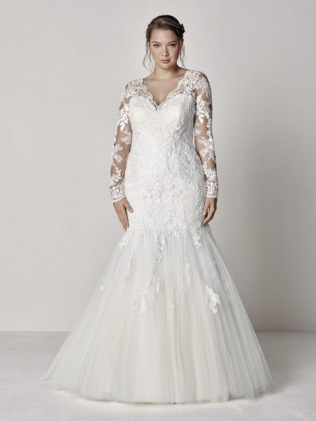 Long Sleeve Scalloped V Neck Lace Fit And Flare Wedding Dress By Ovias Image
