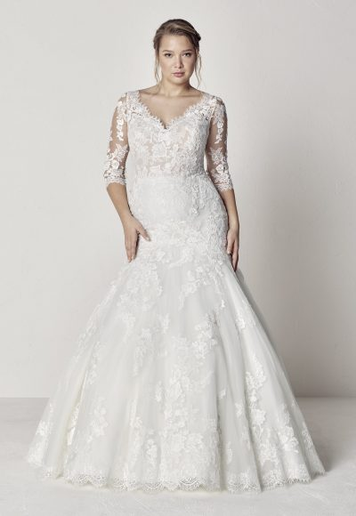 Scalloped V-neck 3/4 Sleeve Lace Fit And Flare Wedding Dress by Pronovias