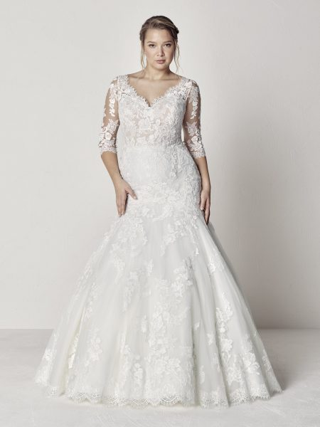 Scalloped V-neck 3/4 Sleeve Lace Fit And Flare Wedding Dress by Pronovias - Image 1