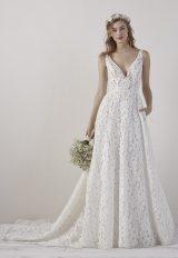 Sleeveless V-neck Lace A-line Wedding Dress by Pronovias - Image 1