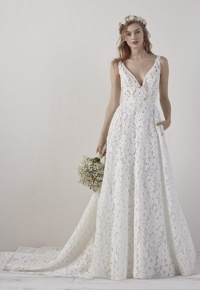 Sleeveless V-neck Lace A-line Wedding Dress by Pronovias