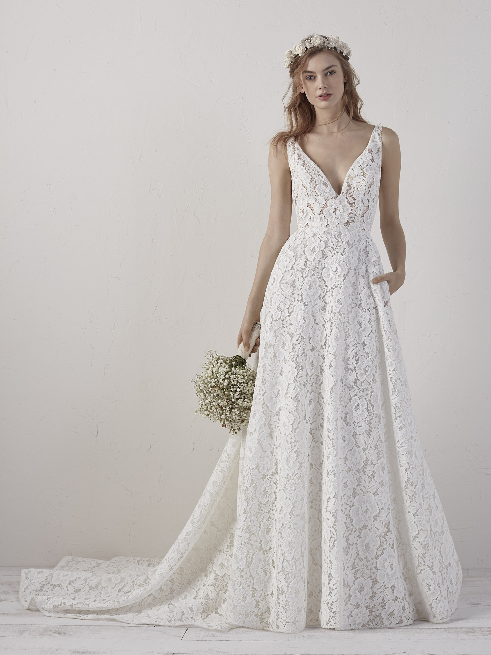 Sleeveless V-neck Lace A-line Wedding Dress   Kleinfeld Bridal