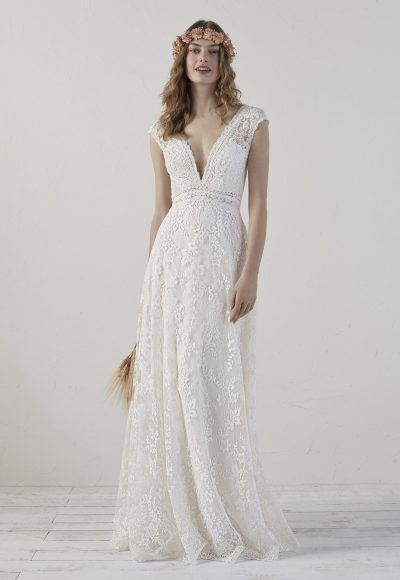 V-neck Sleeveless Lace Sheath Wedding Dress by Pronovias