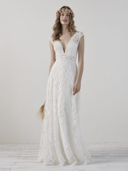 V-neck Sleeveless Lace Sheath Wedding Dress by Pronovias - Image 1