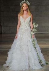 Detailed Bodice Textured Skirt A-line Wedding Dress by Reem Acra - Image 1