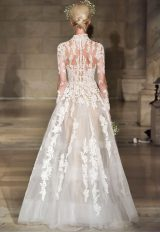 High Neck Long Sleeve Lace A-line Wedding Dress by Reem Acra - Image 2