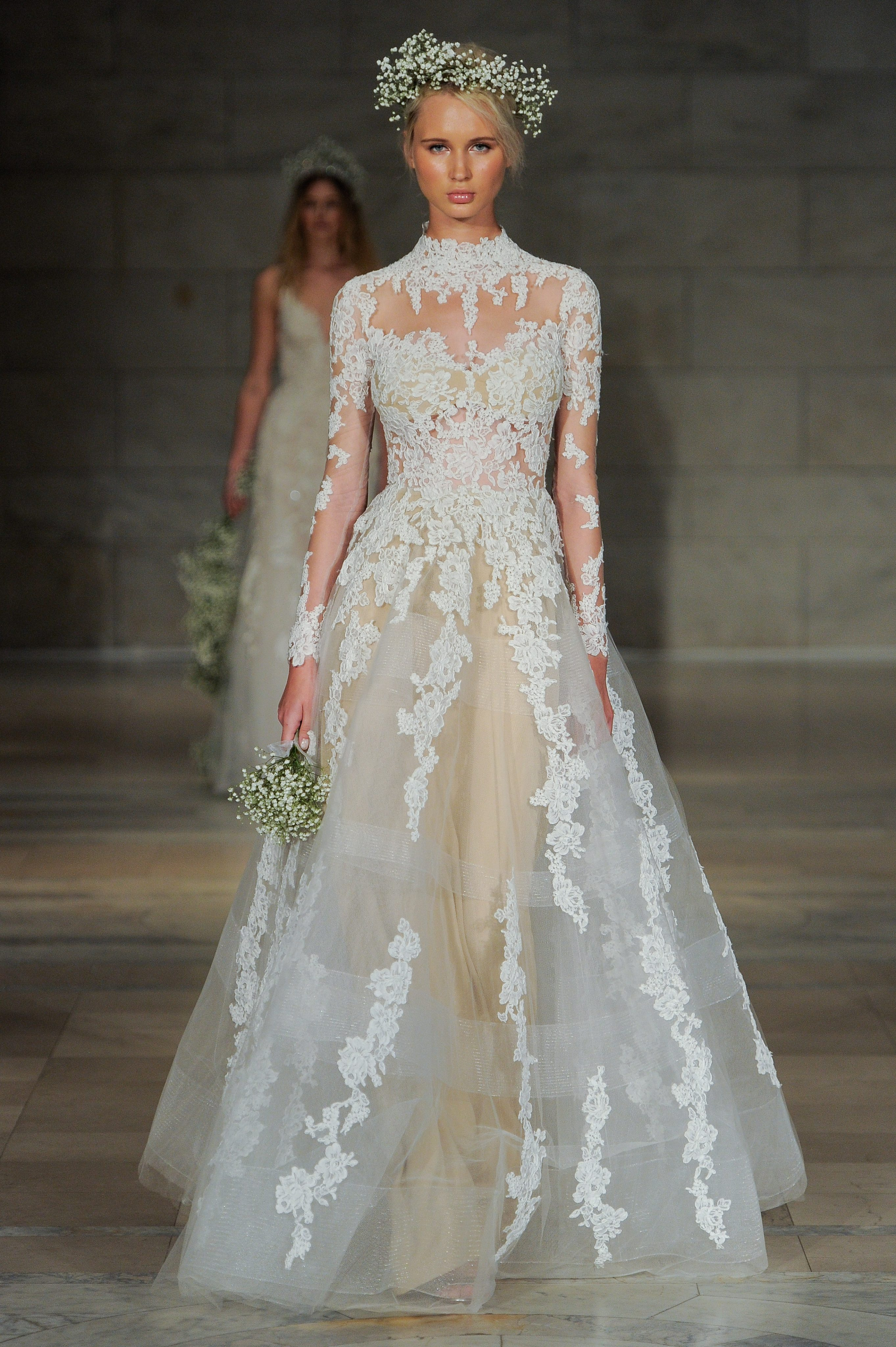 High Neck Long Sleeve Lace A-line Wedding Dress | Kleinfeld Bridal