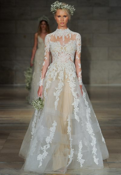 High Neck Long Sleeve Lace A-line Wedding Dress by Reem Acra