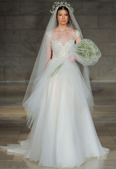 Illusion Sweetheart Beaded Bodice Tulle Skirt Wedding Dress by Reem Acra