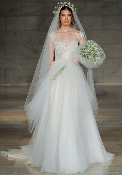 Illusion Sweetheart Beaded Bodice Tulle Skirt Wedding Dress by Reem Acra - Image 1