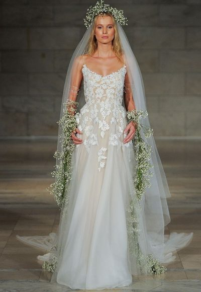 Reem acra kleinfeld bridal spaghetti strap floral applique tulle skirt wedding dress by reem acra junglespirit Choice Image