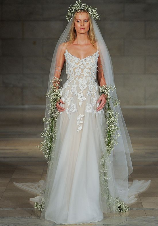 Reem Acra Style #SINCERE SPAGHETTI STRAP FLORAL APPLIQUE TULLE SKIRT WEDDING DRESS