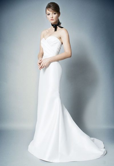 Simple Strapless Ruched Bodice Fit And Flare Wedding Dress by ROMONA New York