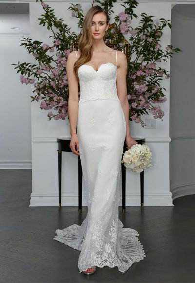 Sweetheart Lace Spaghetti Strap Bodice Sheath Wedding Dress by LEGENDS Romona Keveza