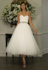 Sweetheart Strapless Full Tulle A-line Waltz Length Wedding Dress by LEGENDS Romona Keveza - Image 1