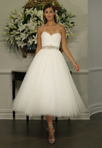 Sweetheart Strapless Full Tulle A-line Waltz Length Wedding Dress by LEGENDS Romona Keveza