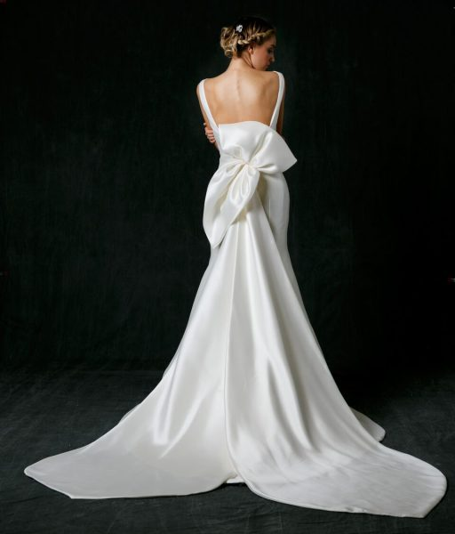 Bateau Neckline Silk Fit And Flare Wedding Dress by Sareh Nouri - Image 2