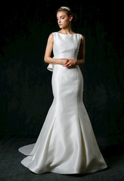 Bateau Neckline Silk Fit And Flare Wedding Dress by Sareh Nouri