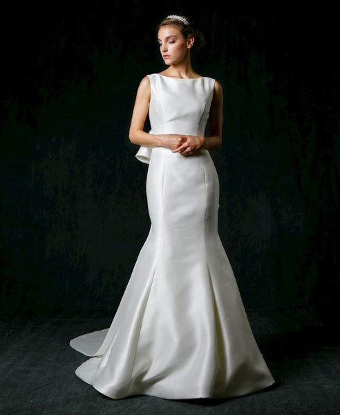 Bateau Neckline Silk Fit And Flare Wedding Dress by Sareh Nouri - Image 1