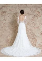 Lace Long Sleeve Illusion Neck Plunging Back Wedding Dress by Sareh Nouri - Image 2