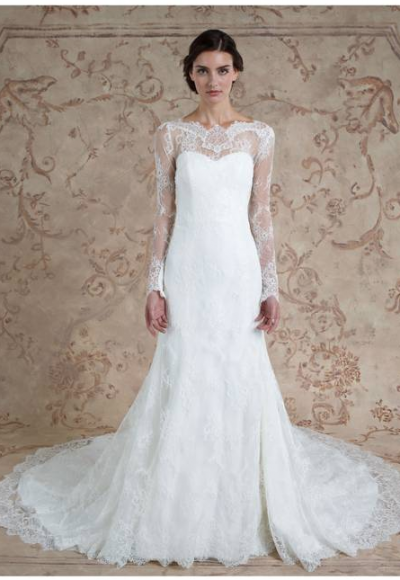 Lace Long Sleeve Illusion Neck Plunging Back Wedding Dress by Sareh Nouri