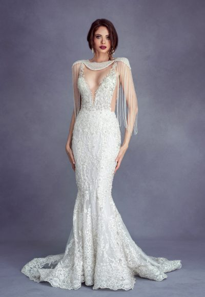 Fully Beaded Deep V-neck Fit And Flare Wedding Dress by Stephen Yearick