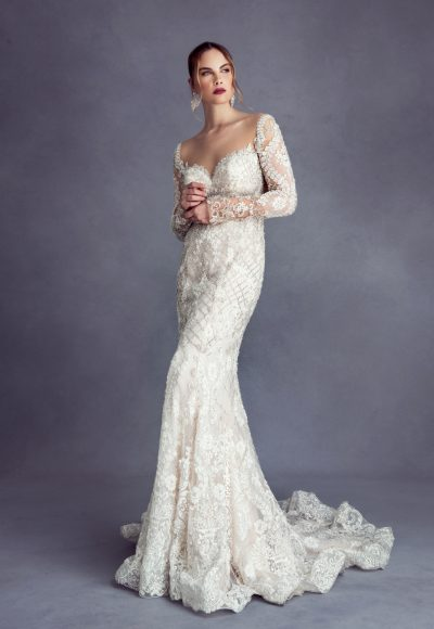 Long Sleeve Deep Sweetheart Beaded Wedding Dress by Stephen Yearick