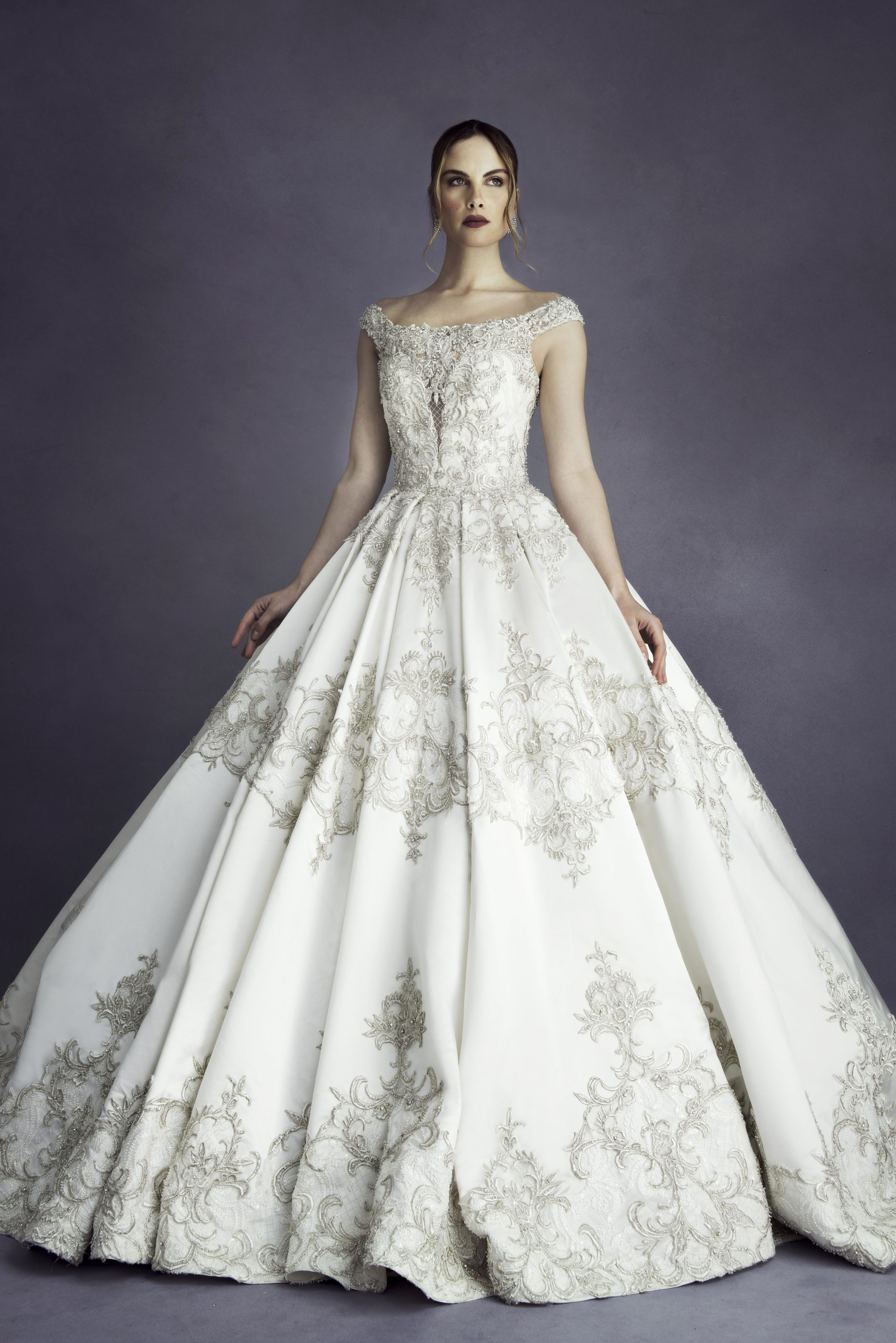 wedding dresses ball gown the shoulder beaded gown wedding dress 9294