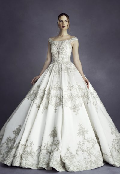 Off The Shoulder Beaded Ball Gown Wedding Dress by Stephen Yearick
