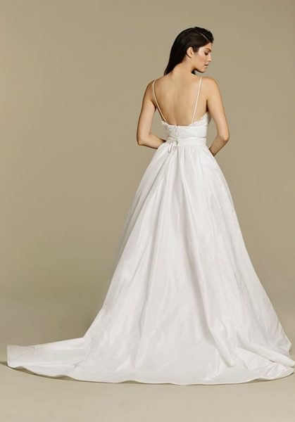 Spaghetti Strap V-neck Taffeta Ball Gown Wedding Dress by Tara Keely - Image 2