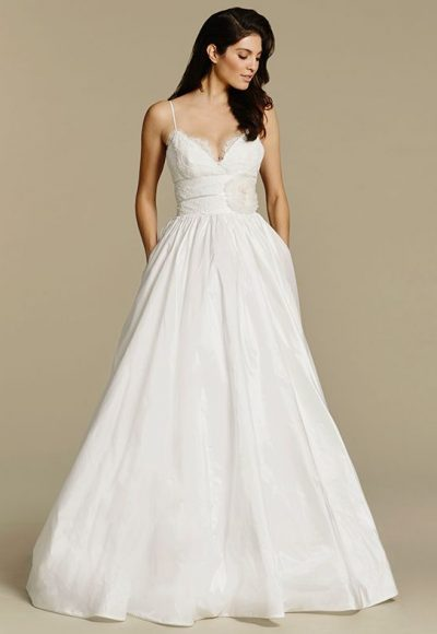 Spaghetti Strap V-neck Taffeta Ball Gown Wedding Dress by Tara Keely