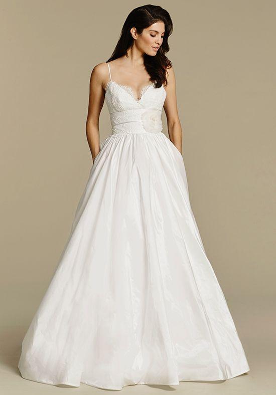 Spaghetti Strap V Neck Taffeta Ball Gown Wedding Dress Kleinfeld