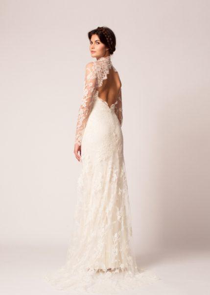 Long Sleeve Lace Keyhole Back Sheath Wedding Dress by Temperley London - Image 2