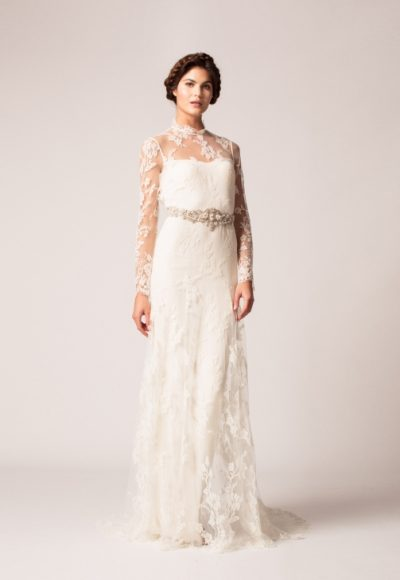 Long Sleeve Lace Keyhole Back Sheath Wedding Dress by Temperley London