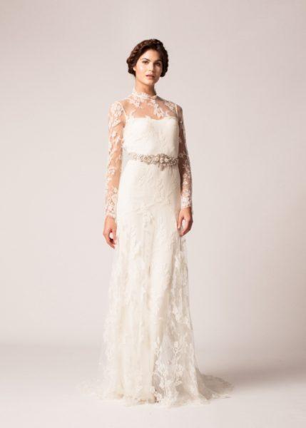 Long Sleeve Lace Keyhole Back Sheath Wedding Dress by Temperley London - Image 1