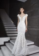 Deep V-neck 3D Floral Appliques Mermaid Wedding Dress by Tony Ward - Image 1