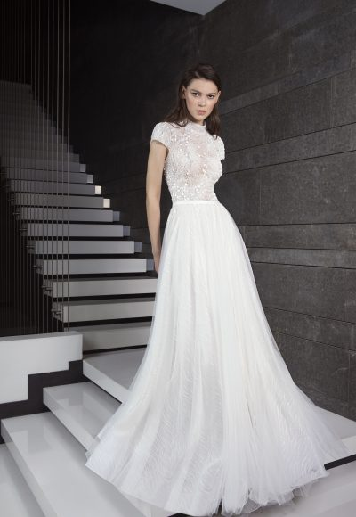 Fully Beaded Short Sleeve Bodice Tulle Skirt Wedding Dress by Tony Ward