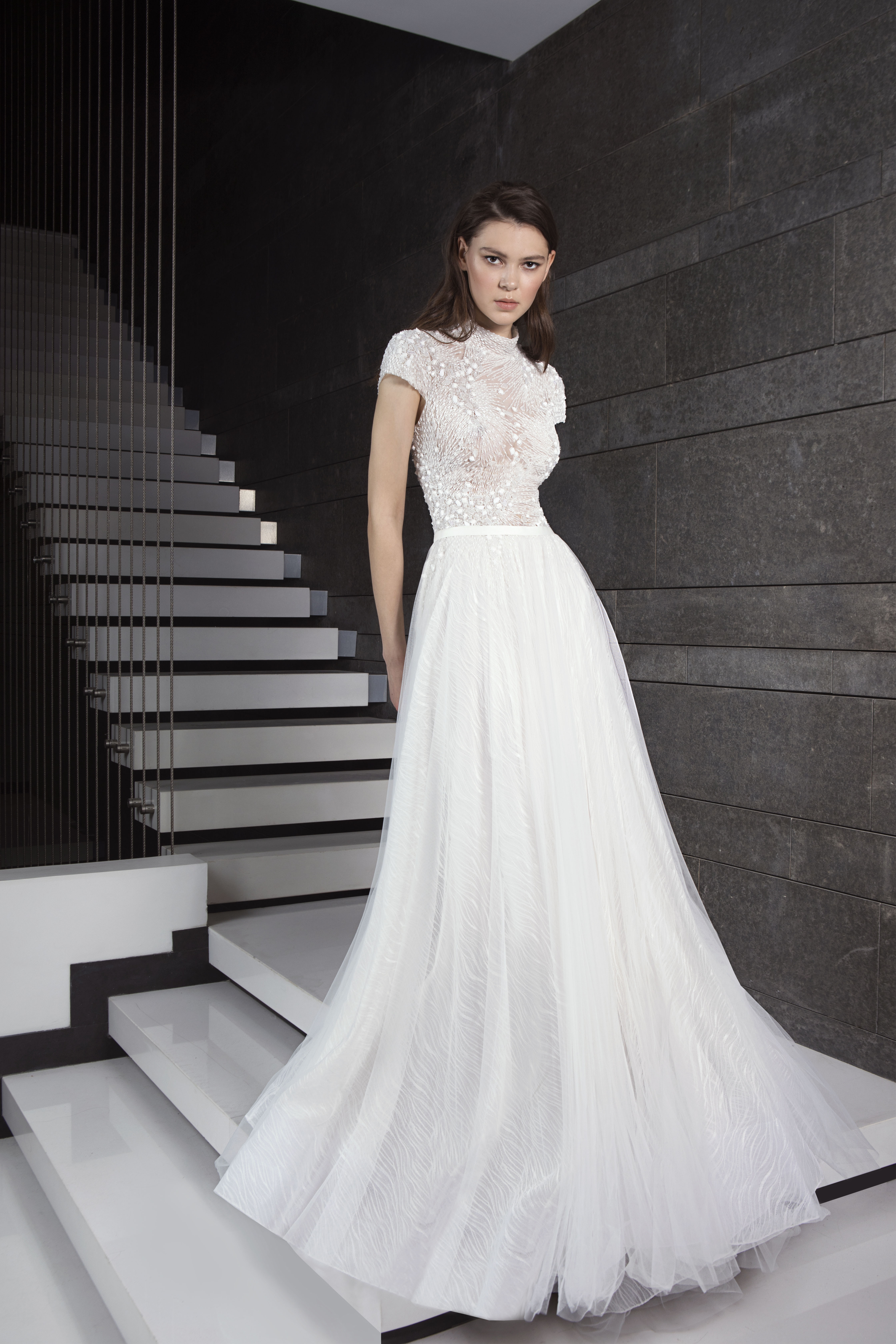 Fully Beaded Short Sleeve Bodice Tulle Skirt Wedding Dress