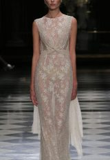 High Neckline Beaded Lace Sleeveless Wedding Dress by Yolan Cris - Image 1