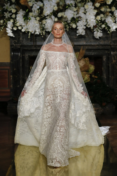 Off The Shoulder Long Sleeve Full Lace Wedding Dress - Image 1