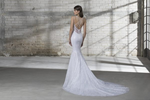 Strappy Sequin Fitted Wedding Dress by Love by Pnina Tornai - Image 2