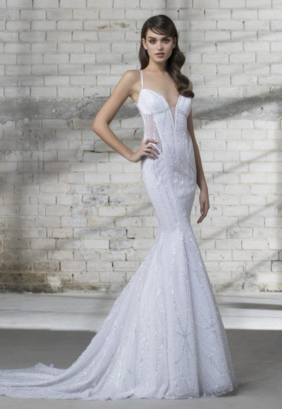 Strappy Sequin Fitted Wedding Dress by Love by Pnina Tornai