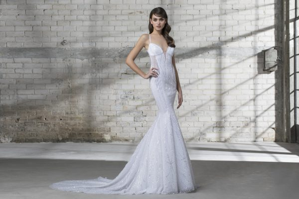 Strappy Sequin Fitted Wedding Dress by Love by Pnina Tornai - Image 1