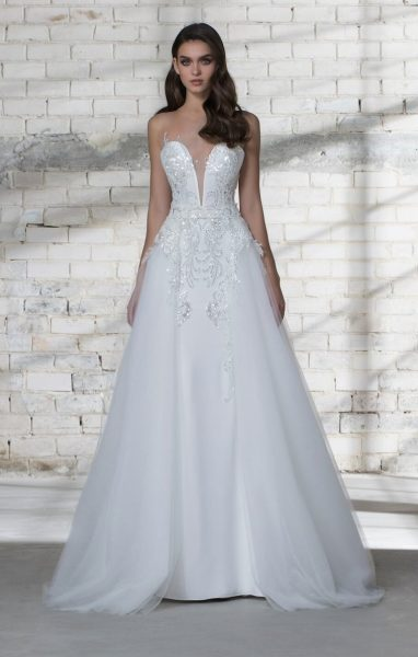Plunging Neckline Sequin Detailed Sheath Wedding Dress by Love by Pnina Tornai - Image 2