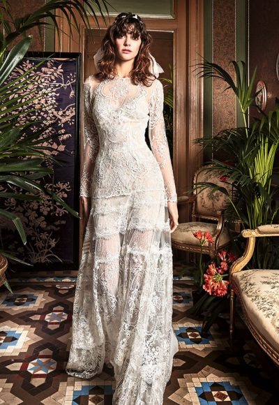 Long Sleeve Lace Detailed Sheath Wedding Dress by Yolan Cris