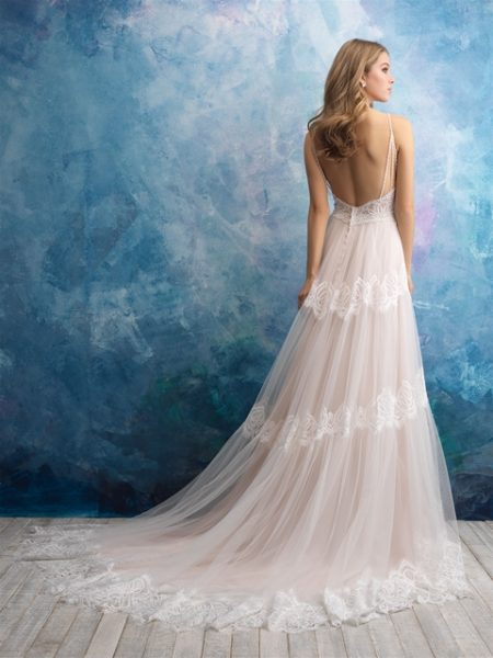 Lace V-neck Bodice A-line Lace And Tulle Skirt by Allure Bridals - Image 2