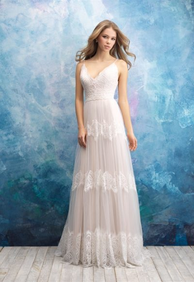 Lace V-neck Bodice A-line Lace And Tulle Skirt by Allure Bridals