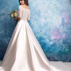 Off The Shoulder Illusion Sweetheart Bodice Satin Skirt Wedding Dress by Allure Bridals - Image 2